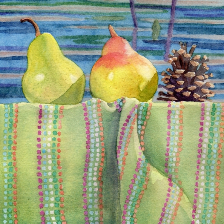 """Day 3 Pears Pine Cone Polka Dots and Painting"" watercolor by Lorraine Watry"