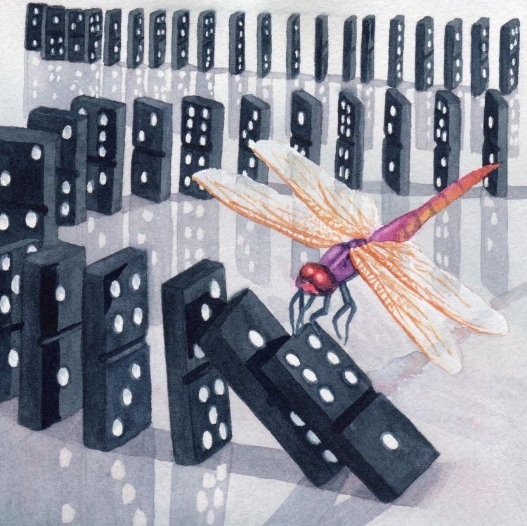 "SOLD ""Day 4 Dragonfly and Dominoes"" watercolor by Lorraine Watry"