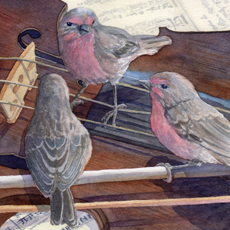 "SOLD ""Day 5 Fiddling Finches"" watercolor by Lorraine Watry"