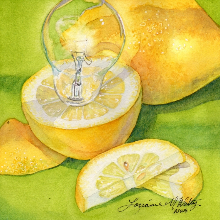 "NFS ""Day 6 Lemon Light"" watercolor by Lorraine Watry"