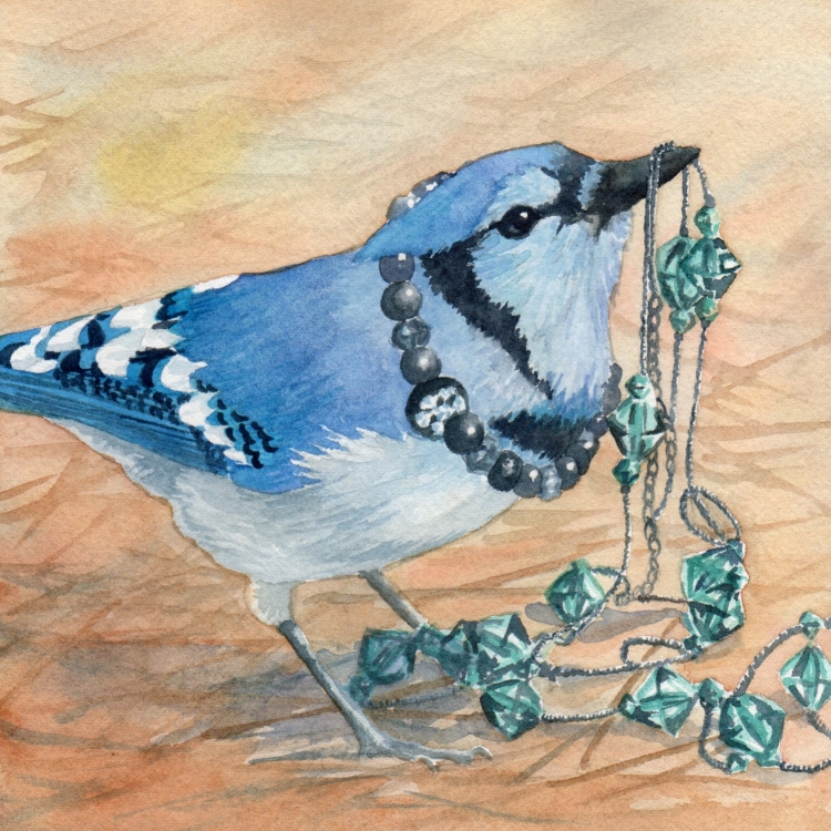 "SOLD ""Day 8 Jeweled Jay"" watercolor by Lorraine Watry"