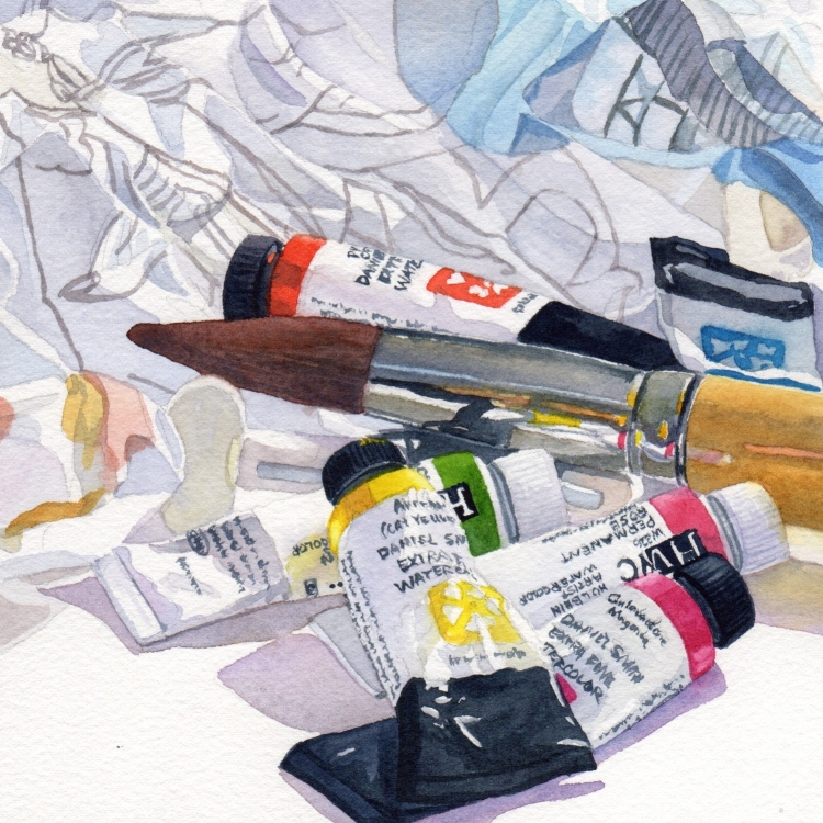 """NFS """"Day 9 Paint Paper Paint Brush"""" watercolor by Lorraine Watry"""