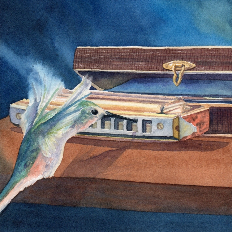 """Day 10 Harmonica and Hummingbird"" watercolor by Lorraine Watry"