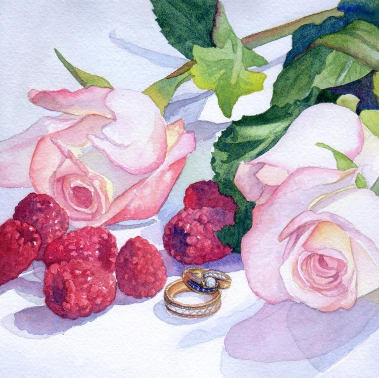 "NFS ""Day 12 Roses Raspberries and Rings"" watercolor by Lorraine Watry"