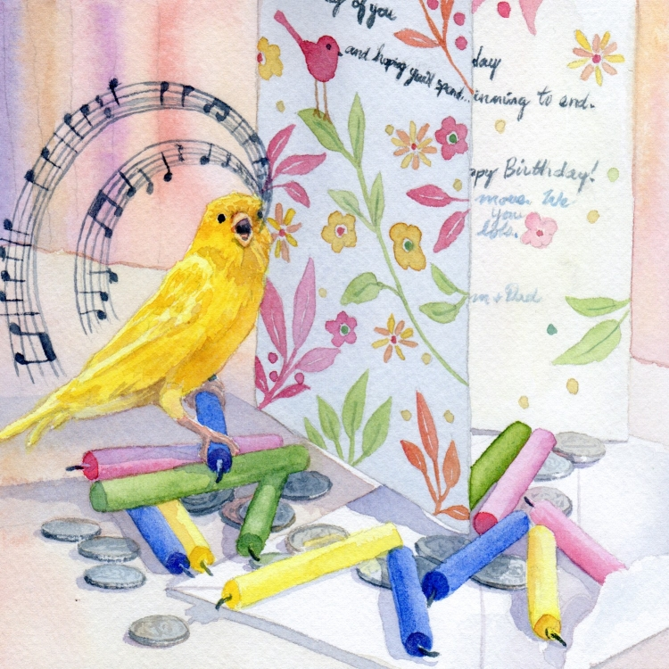 """Day 17 Card Candles Coins Canary"" watercolor by Lorraine Watry"