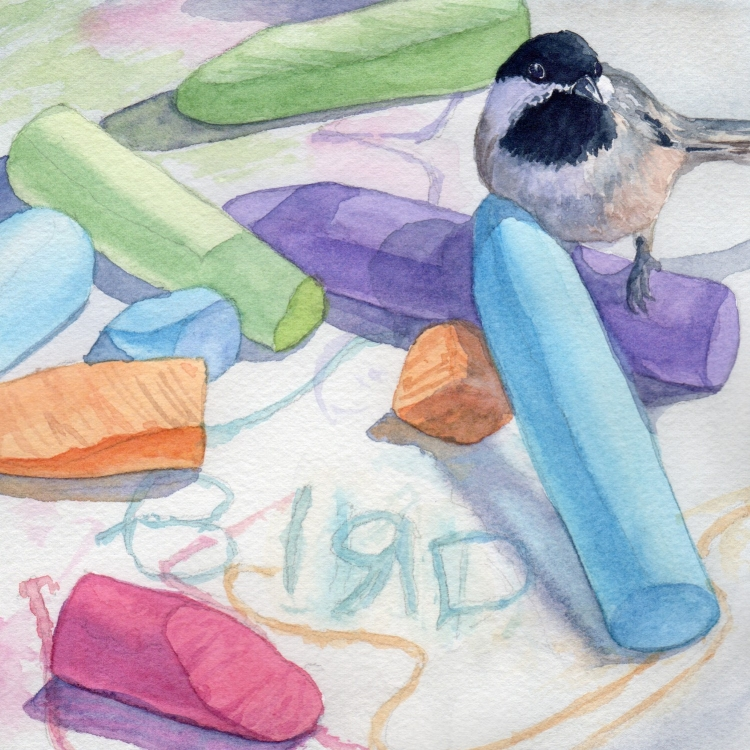 "NFS ""Day 22 Chickadee and Chalk"" watercolor by Lorraine Watry"