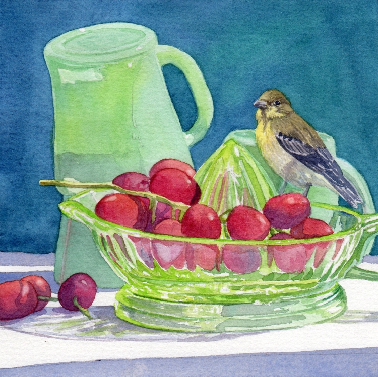 "SOLD ""Day 25 Green Glass Goldfinch and Grapes"" watercolor by Lorraine Watry"