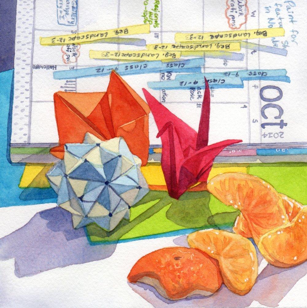 """Day 21 - Origami Orange October"" watercolor by Lorraine Watry"