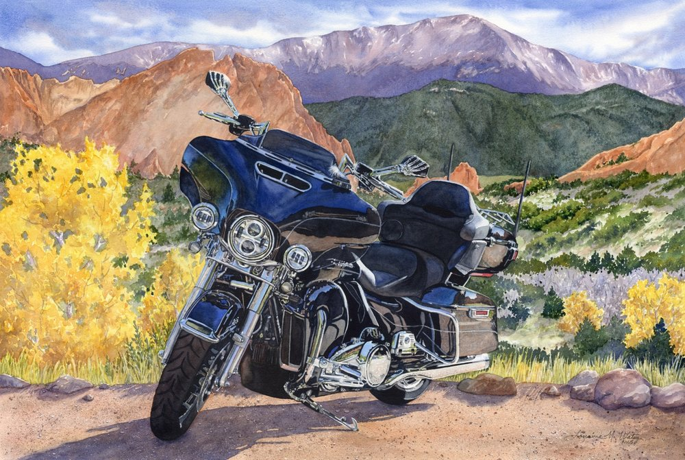 """Enjoy the Ride"" watercolor of a Harley Davidson by Lorraine Watry"