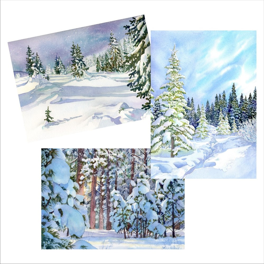 Snow scene blank note cards of original watercolors by Lorraine Watry