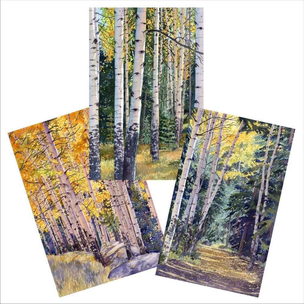 Aspen blank note cards from original watercolors by Lorraine Watry