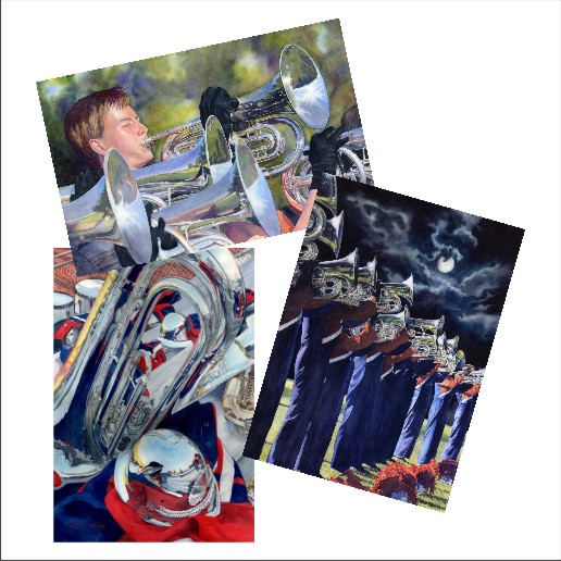 Marching Band Blank Note Cards from watercolors by Lorraine Watry