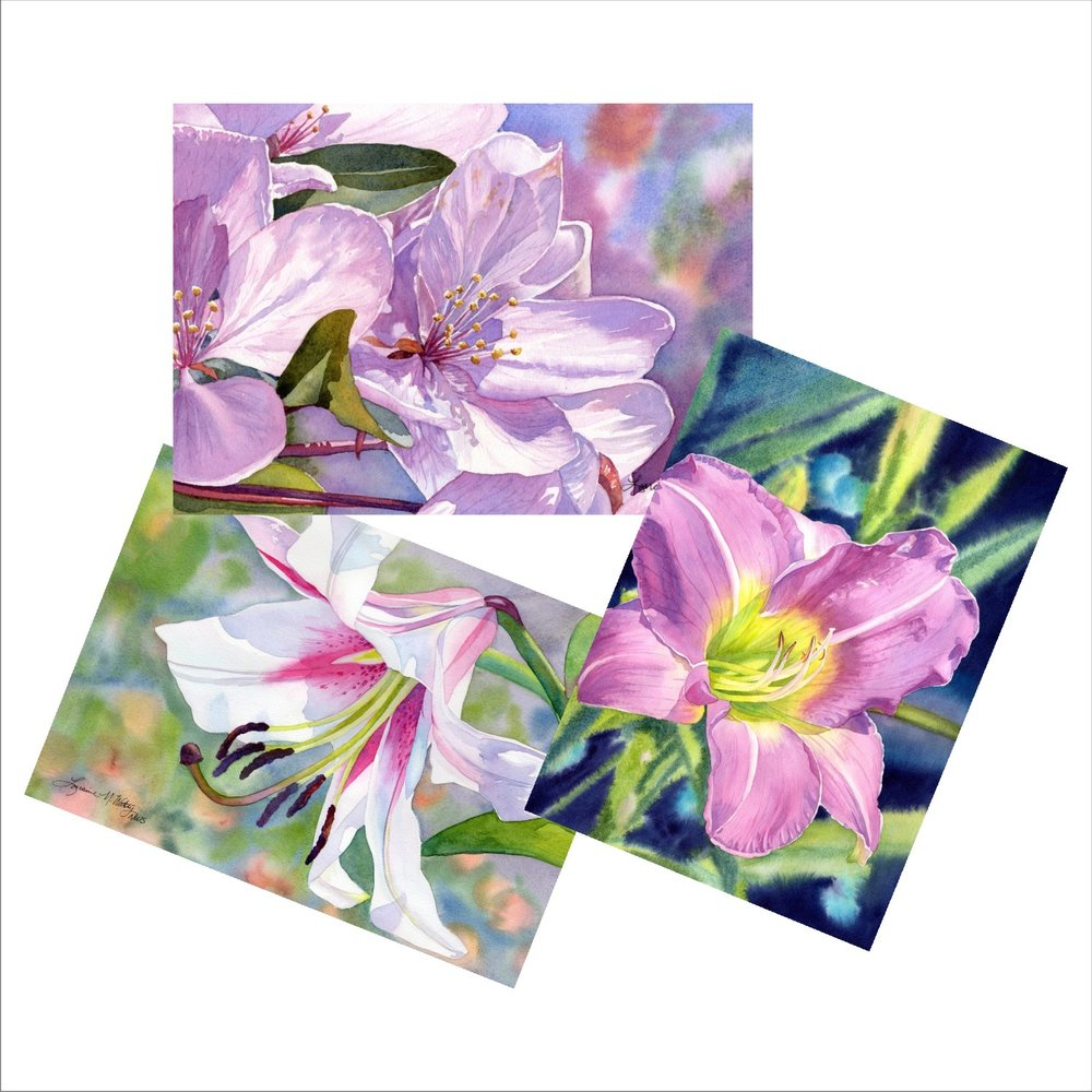 Flower Scene Blank Note Cards from watercolors by Lorraine Watry