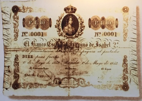 First banknote printed in the Philippines with the No. 0001 is the Peso Fuertes 10, bearing the face of Queen Isabel II and printed by BPI, then El Banco Español Filipino de Isabel 2