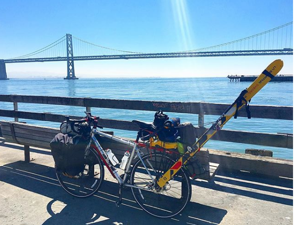 [Hasta Shasta] Sea to summit with my skis on a bike… - 7 days. 350 miles. 14,179 feet. With a custom rack to strap my skis to my bike, I rode from San Francisco to Shasta to ski the 14er.