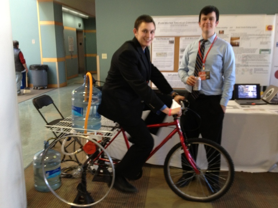 [PureWater Trike] Tricycles for pumping and transporting water… - Developed a tricycle adapter, constructed from recycled bicycles, that pumped, filtered and transported water to aid remotely located people who need to gather water on a daily basis.