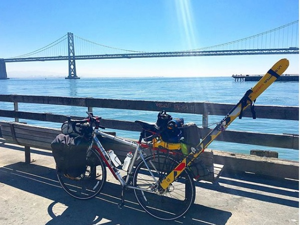 [Hasta Shasta] Sea to summit with my skis on a bike… - 7 days. 350 miles. 14,179 feet. With a custom rack to strap my skis to my bike, I rode from San Francisco to Mount Shasta to ski the 14er.