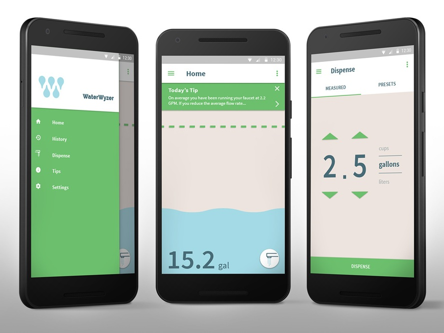 [Waterwyzer] Smart device for smarter water usage… - During the 2017 drought in California, there has been much more awareness to water usage than in past years. One of the largest sources for water waste in the home is at the kitchen sink, washing dishes. We built a smart, connected device to help people minimize their water usage during this daily task.