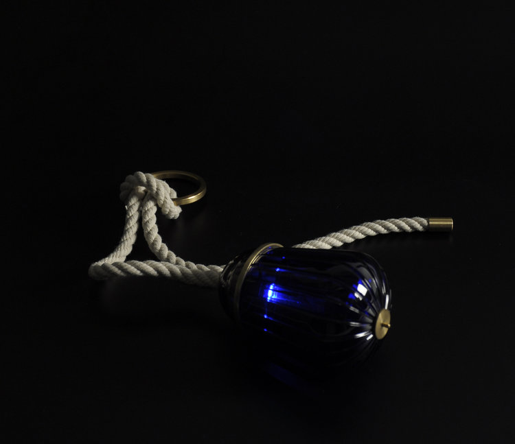 - The beautiful 'royal blue' crystal reminds me of the moon reflecting on the sea at night and should be your beacon of light in the dark.Photos by Esmee Jacobs. Objects on the group picture are made by Nick Beens, Lauren and Lennart Leerdam and Kristaps Politis.www.saintlouis.com(2015)