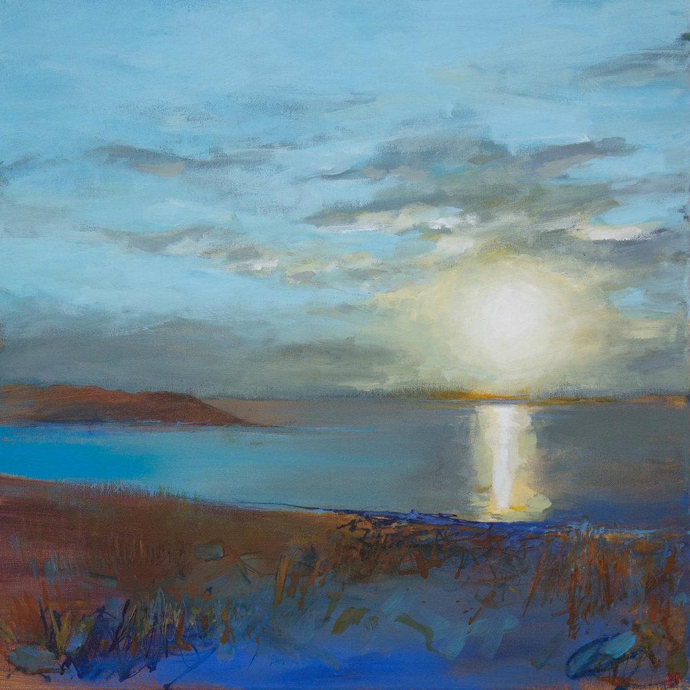 As the sun goes down across the Cuinne Sherkin 50x50cm.jpg