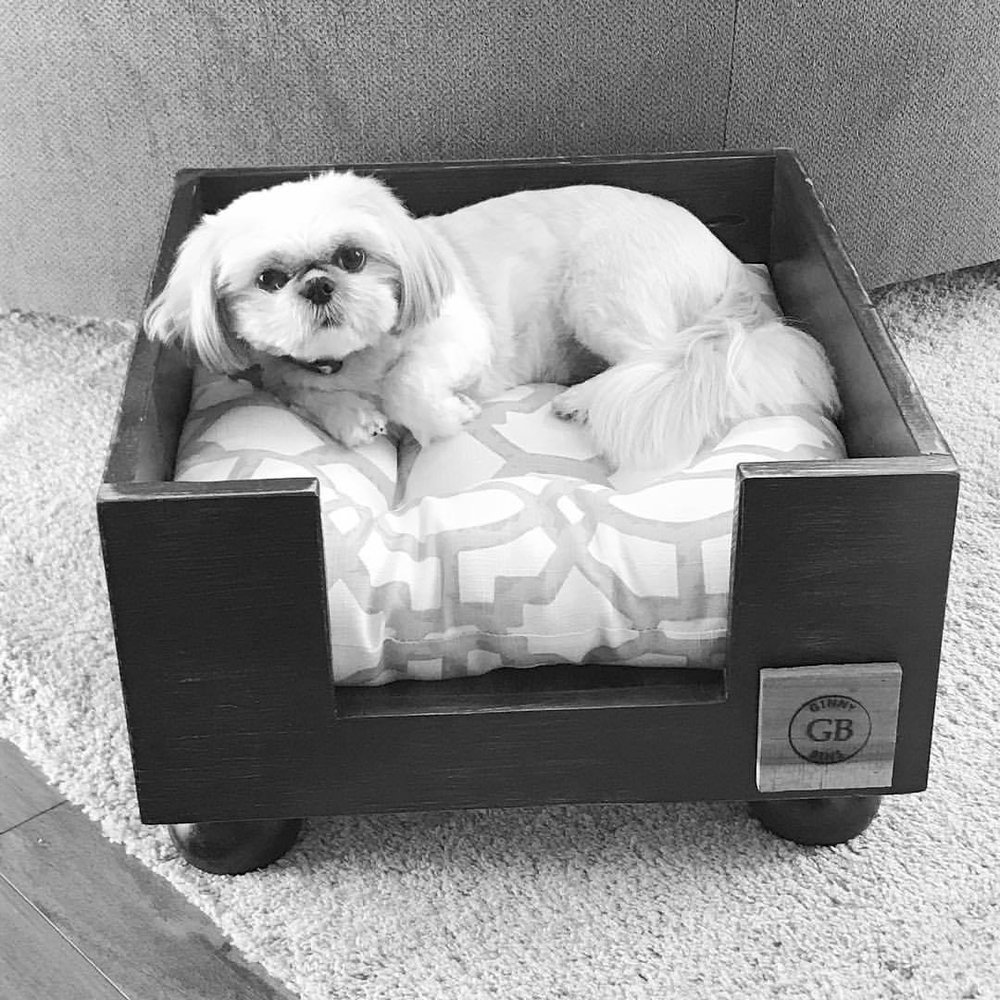 Love the quality… - and custom look of each piece she makes. The bed was stained to match the furniture in our house and she even adjusted the height of the food dish stand for our 'petite' Shih Tzu!-Karen M (Tiny Daybed/Dining Table)
