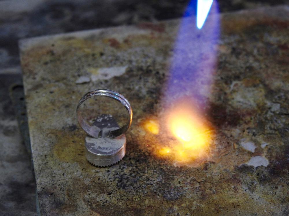solder ring shank to bezel cup