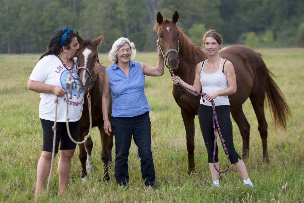 Rescued horse Red, rescued pony Lucy with Tanya, Catherine and Red's new owner Ashley