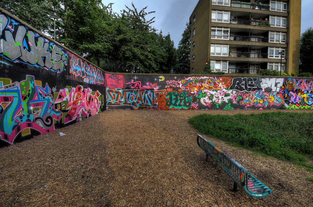 Graf Under The Camel - Aka The Trellick Tower. I've always thought this a beauty and it has its nice splash of paint down under.