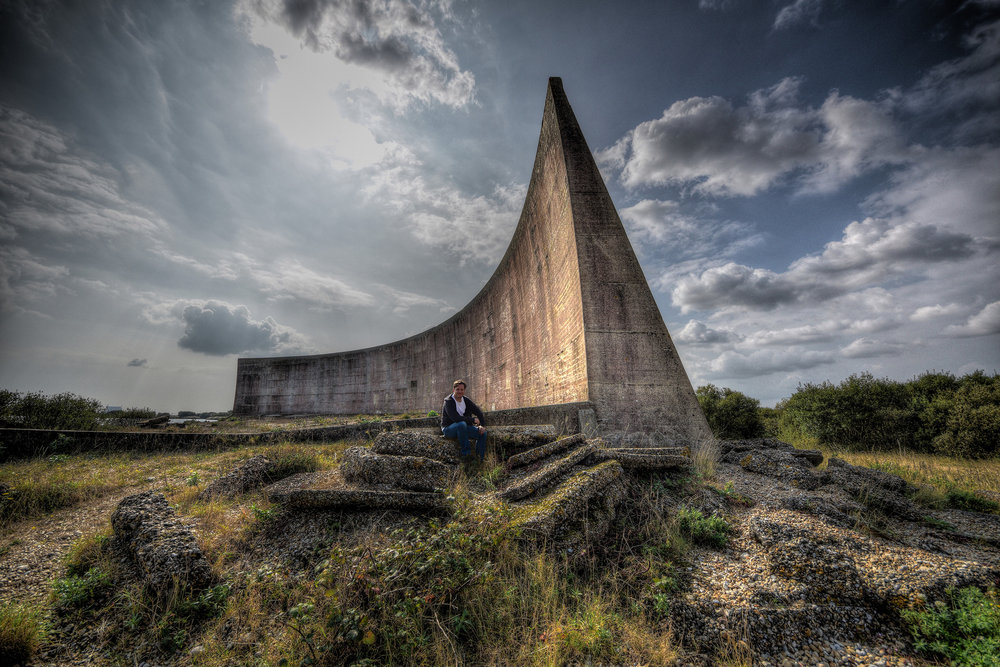 """Military Sound Mirrors - These have always appealed to my eye, and so I thought it was about time I got down there.I read this before going, and it only made me more eager to get to them.""""It used to be possible for trespassers to gain access to the mirrors, but this is no longer physically possible. The deep lake created by gravel extraction has been extended to completely surround the mirrors, which are now on an island. The only access to the island is via a swing bridge, which is locked in the open position when not being used for guided walks.The good news is that this should keep out vandals and undesirables!"""""""