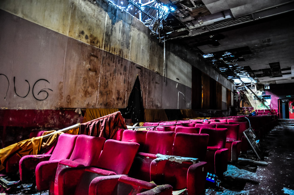 An Old Cinema - This one was exceedingly fetid.The lower area was very dank and burnt out but so dark that I didn't get a decent photo.I adored the rows of scarlet covered chairs.I real didn't press the shutter button enough in here.
