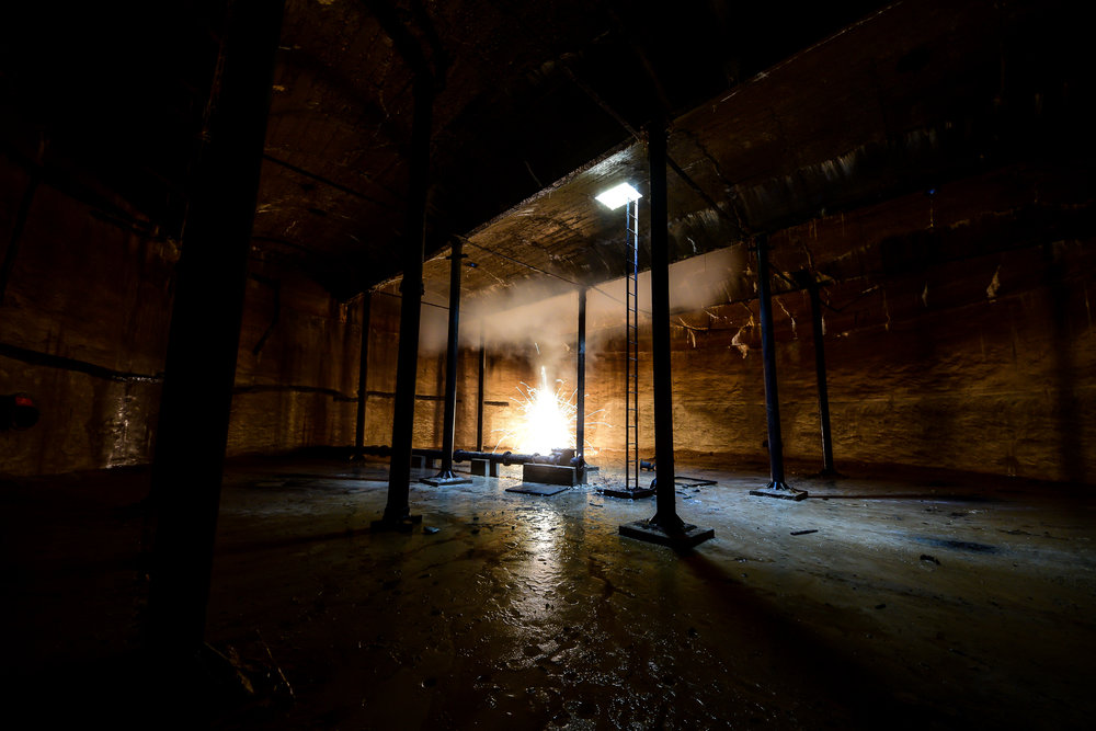 Underground Reservoir - Difficult to capture the scale of this place and a one shot wonder really.Decided to light some pyrotechnics to get some light and smoke in here