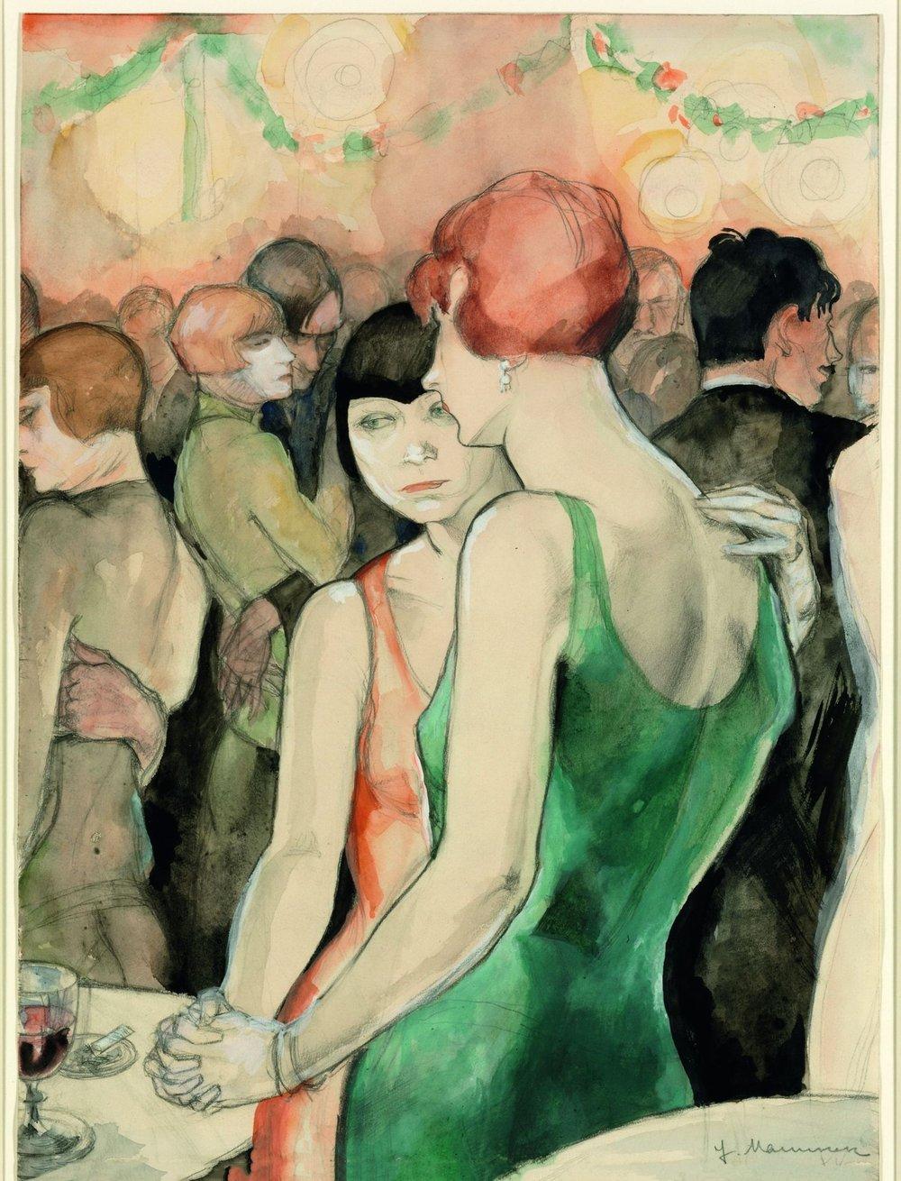 Jeanne Mammen. Two Women, Dancing, 1928