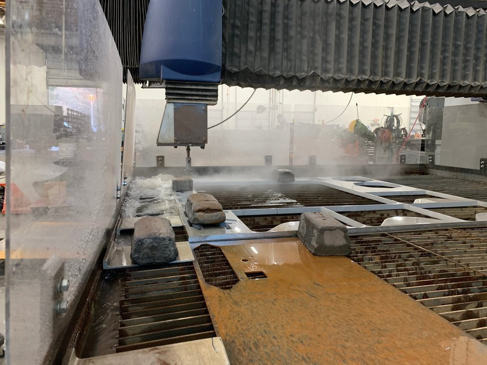 Water jet - Our water jets are 6' x 12'. Our fabricators are ready to draw up what you need.
