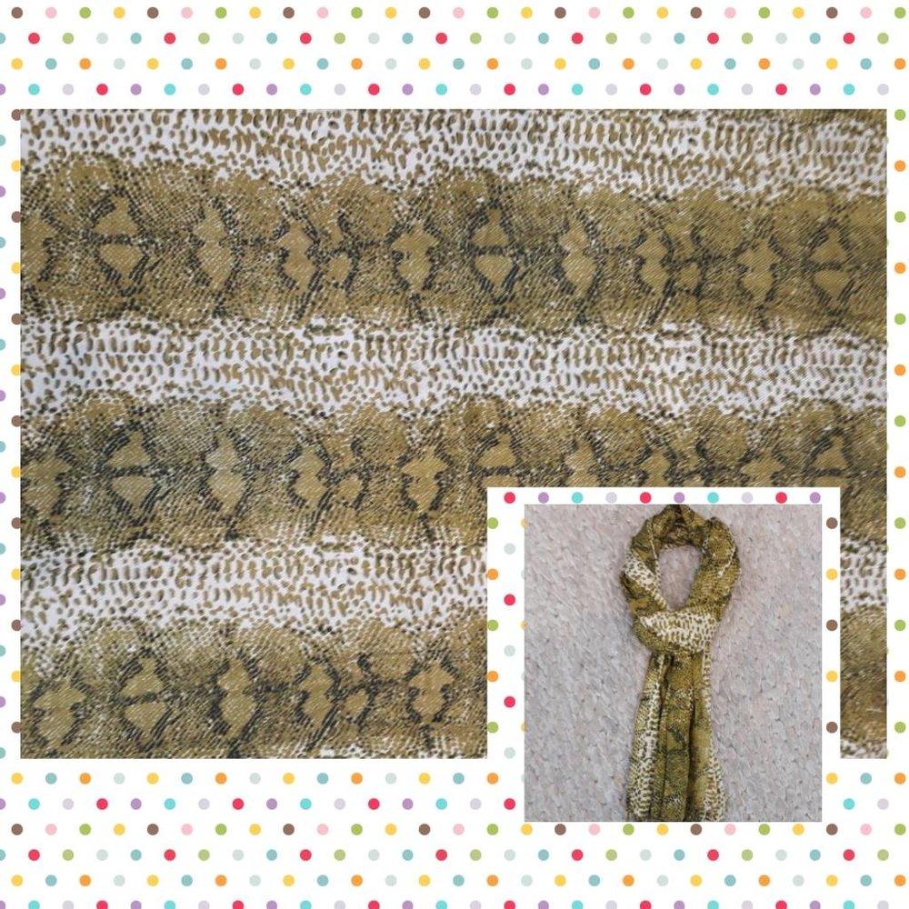 Echarpe Estampa de Cobra - Cores: marrom, caramelo, bege, branca, leopardo, cobra