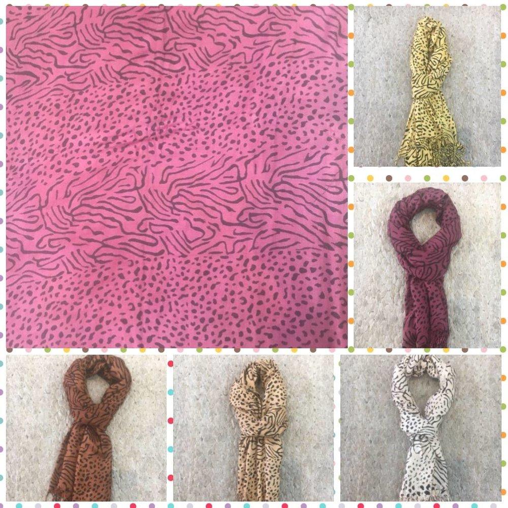 Echarpe de Print/Estampa Animal - Cores: rosa pink, amarelo, mostarda, marrom claro, bege, terracota, branca, preto