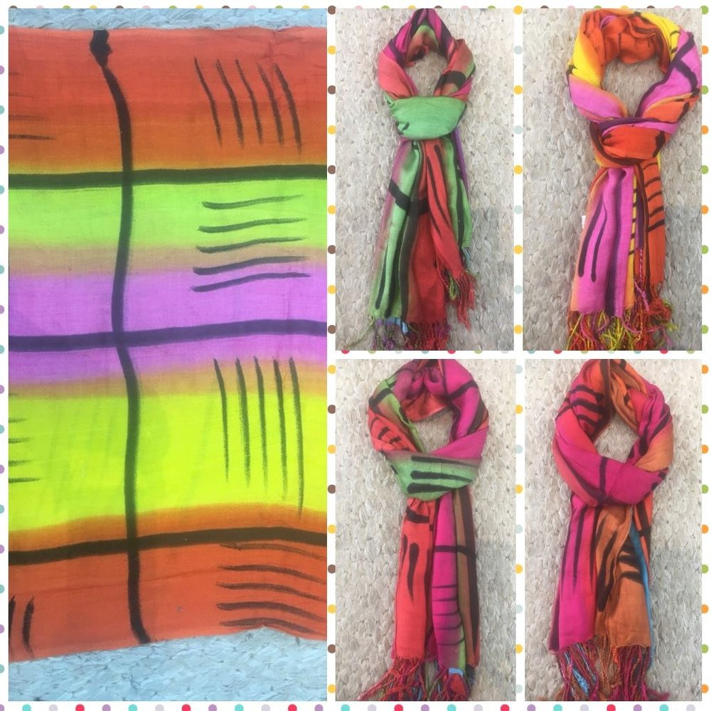 Echarpe Estampa Neon Artistico - Cores: pink, laranja, verde e amarelo neon