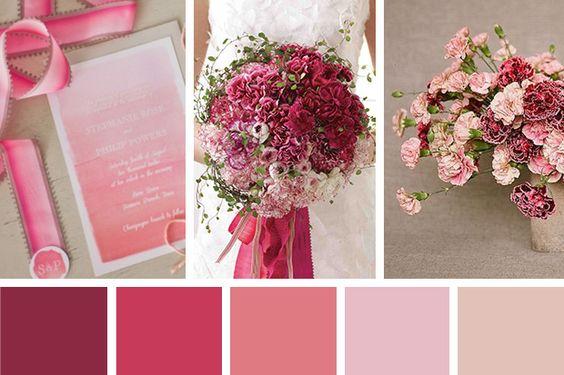 Paleta de cores vinho, rosa, lilas, off white via  Lapis de Noiva