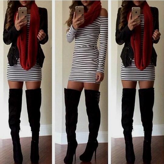echarpe cachecol vermelho com vestido.jpg