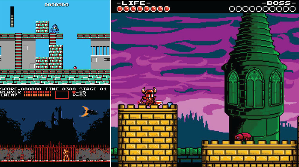 Mega Man  (top left) and  Castlevania  (bottom left) for the NES compared to  Shovel Knight . You can see how Shovel Knight has a much higher graphic fidelity.  There's a great video by Mark Brown that explores this more.