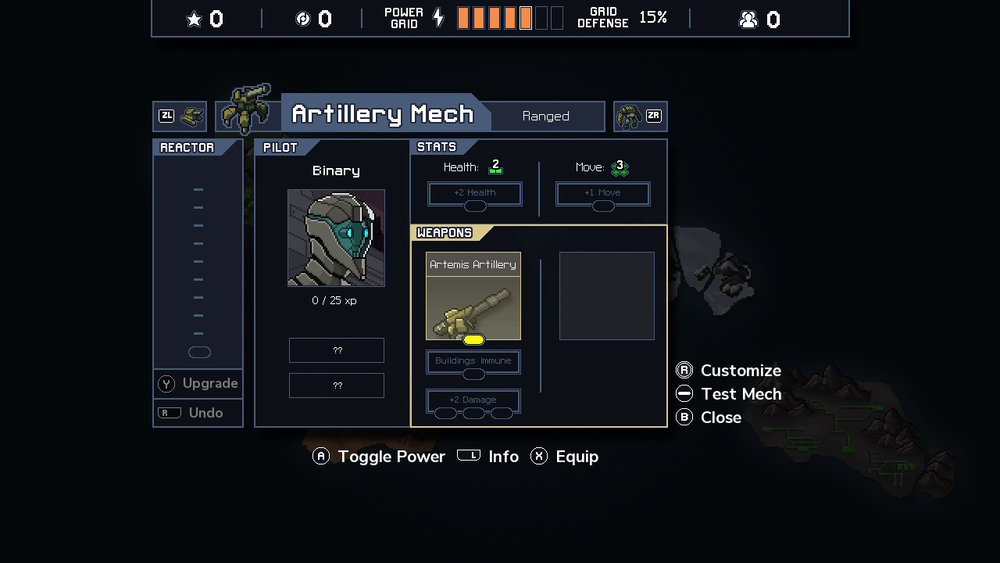 An example of a mech upgrade screen.