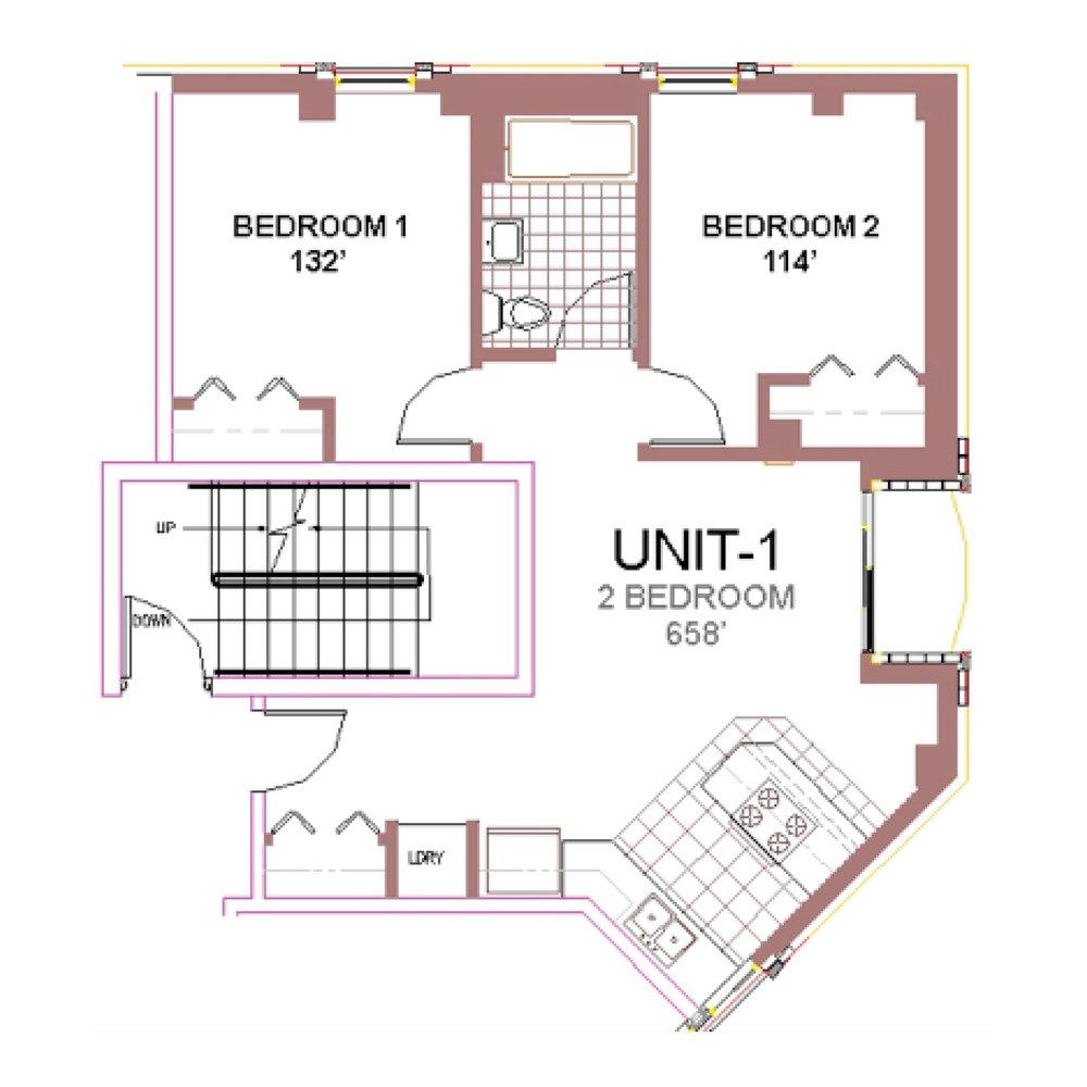 The Aberdeen Apartment Layout 1, 2 bedroom floor plan