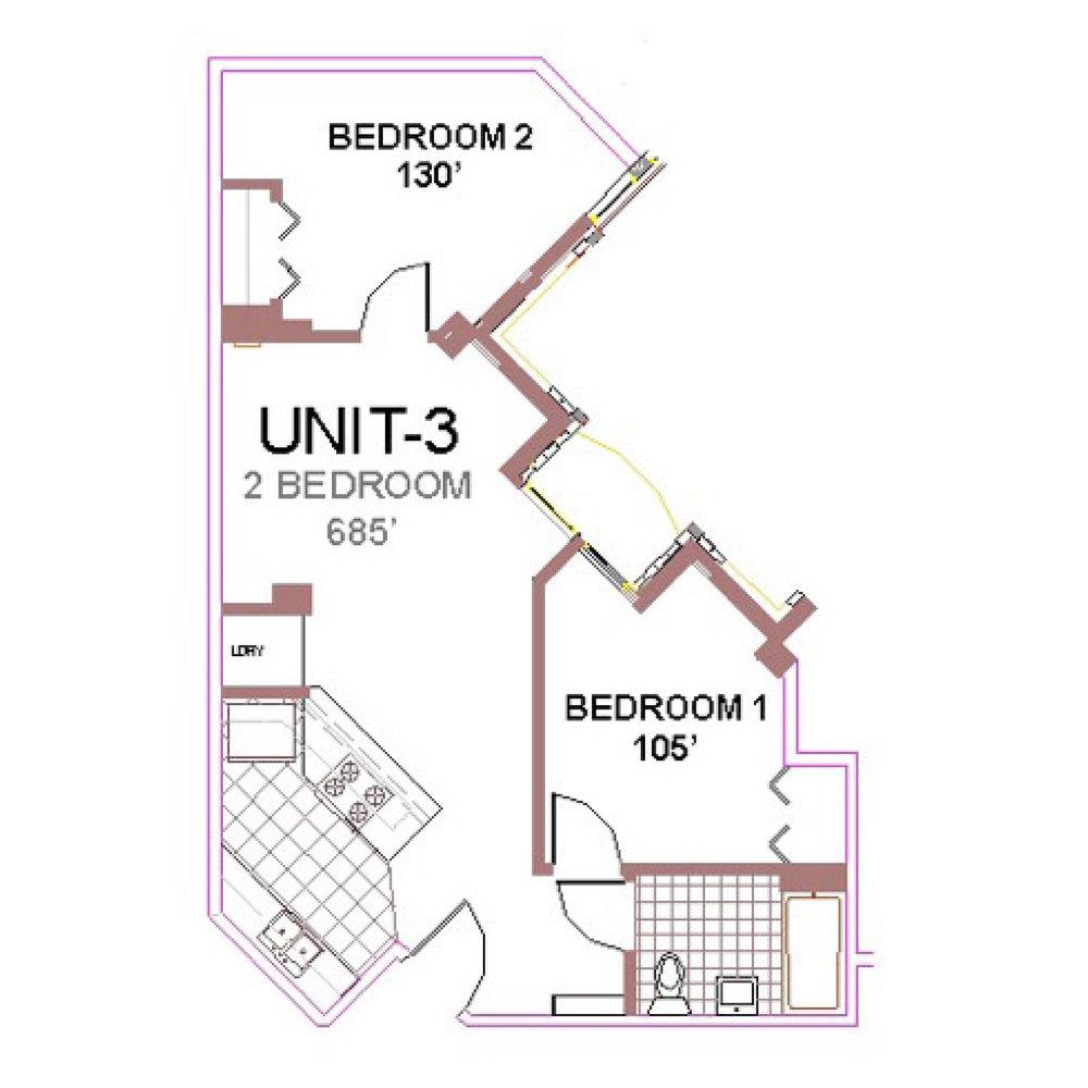 The Aberdeen Apartment Layout 3, 2 bedroom floor plan