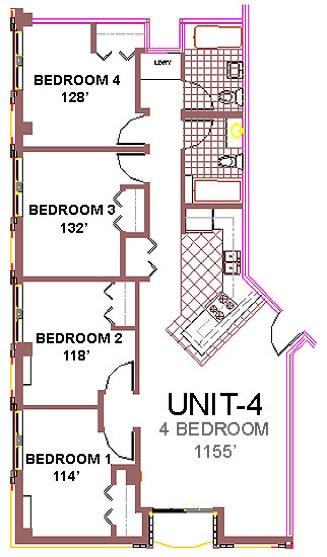 The Aberdeen Apartment Layout 4, 4 bedroom floor plan