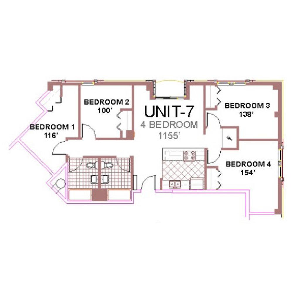 The Aberdeen Apartment Layout 7, 4 bedroom floor plan