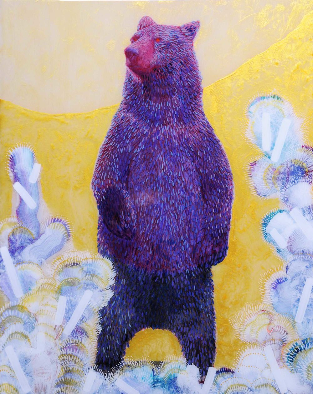 Standing Bear (II) , 2018. Acrylic and resin on wood panel, 20x16 inches