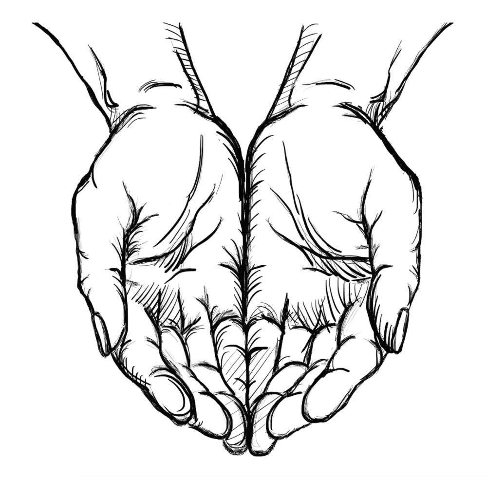 Black line drawing of two cupped hands in a heart shape