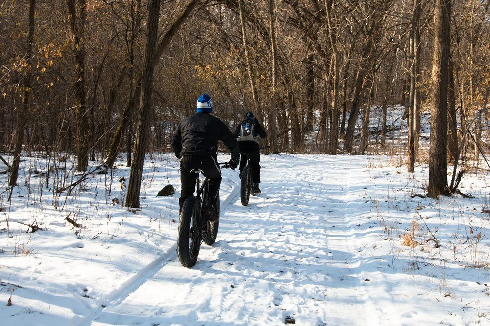 Two men on fat-bikes ride in winter forest