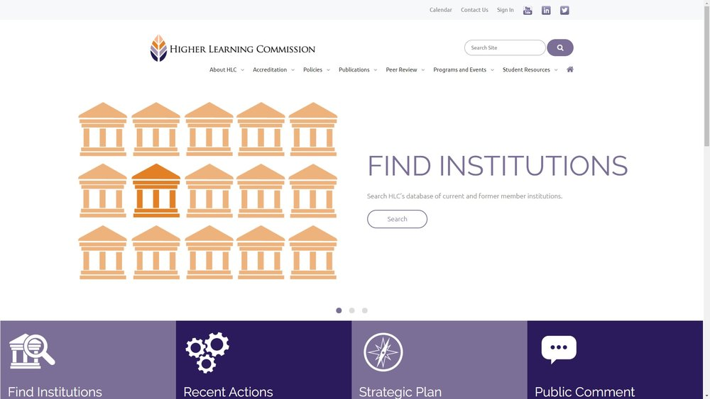 Screenshot of the Higher Learning Commission Homepage
