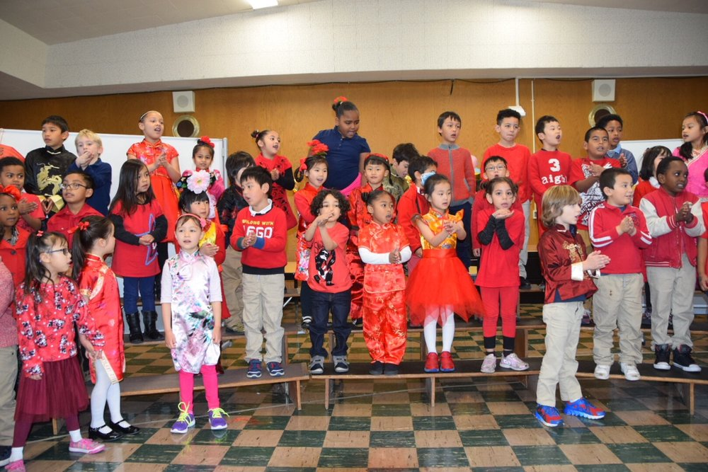 "1st Graders at West County Mandarin School celebrate Lunar New Year with traditional and ""no so traditional"" Mandarin music and dress."