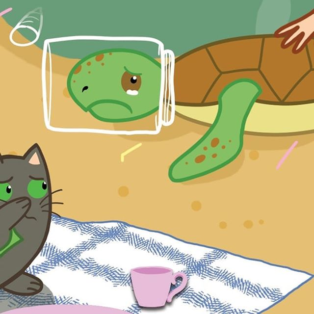 This is part of an illustration created by @awkwardbirdsillustrations Go to Hollie and Figgs FB page to see the full illustration.  My children's book characters have become ecowarriors. They can't believe what's happening to our planet and to marine life as a result of plastic pollution. Here you can see a turtle being soffocated because he has plastic covering his head. Over 12 million tons of plastic get dumped into our oceans every year. I can't comprehend what that's doing to the marine life. The plan is for me to take my characters and illustrations into schools. And hope to get support and share awareness to the next generation. Support Hollie and Figgs in their journey to help the planet and life on it. . . . . . #illustrate #illustrationartists #environment #plasticfree #plastic #marinelife #turtle #children #childrensbooks #instagram #childhood #teachers #catsofinstagram #ecowarrior #friends #lovecats #wildlifeplanet #planetearth #sea #instagood